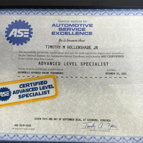 ASE Certification Advanced Level Specialist Engine Performance Tim Hollenshade