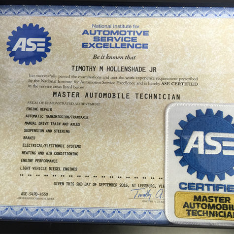 ASE Certification Master Automobile Technician Tim Hollenshade