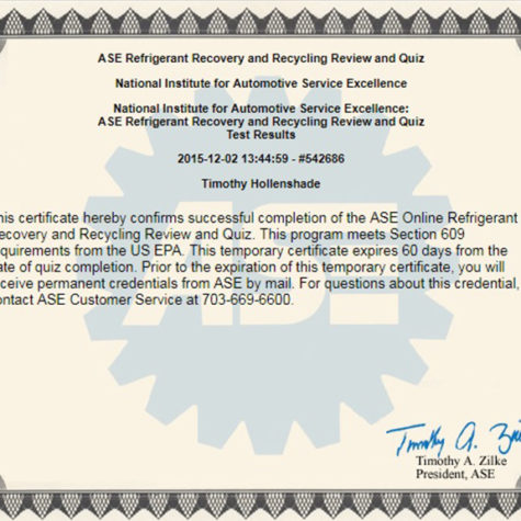US EPA Section 609 ASE Certification Refrigerant Recovery and Recycling Tim Hollenshade