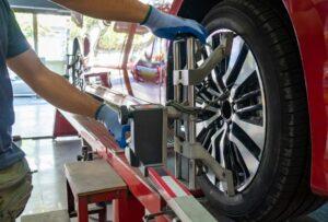 Image of wheel alignment on Hollenshade's Auto Repair website